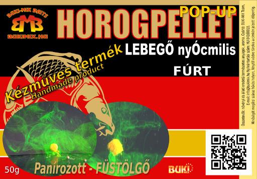 Horogpellet 8 mm /lebegő/ Panírozott-Füstölgő (fúrt) /talpas tasakban/ + gratis - eper
