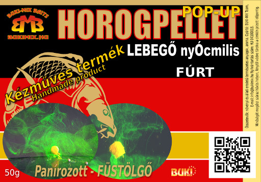 44-02-10 Horogpellet 8 mm /lebegő/ Panírozott-Füstölgő (fúrt) /talpas tasakban/ + gratis - mangó
